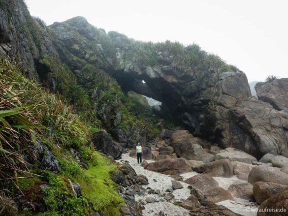 Wanderung durch Felsen und Schluchten am Cape Foulwind in Neuseeland