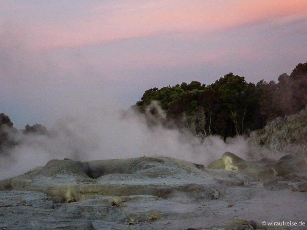Geysire im Abendrot - Rotorua - Buried Village