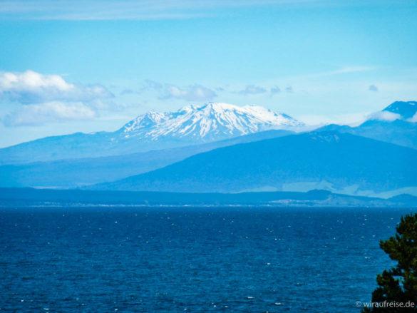 Blick auf den Mount Ruapehu im Hintergrund und Lake Taupo im Vordergrund, Nordinsel Neuseeland
