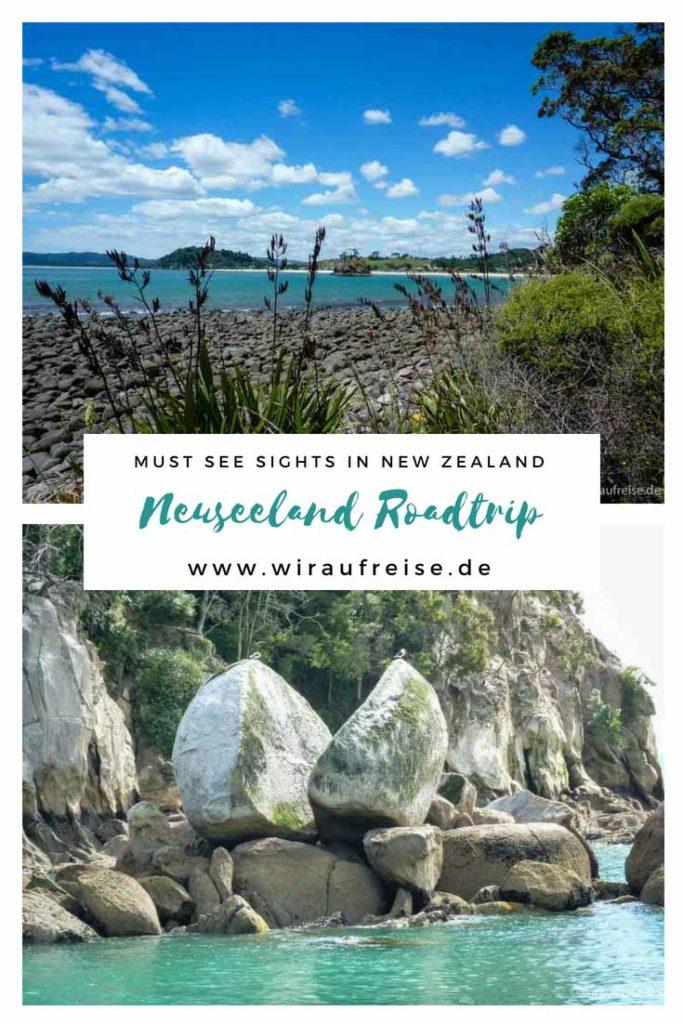 Pinterest Pin für Neuseeland Routenvorschläge und Reisetipps